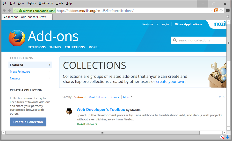 firefox add-on collections