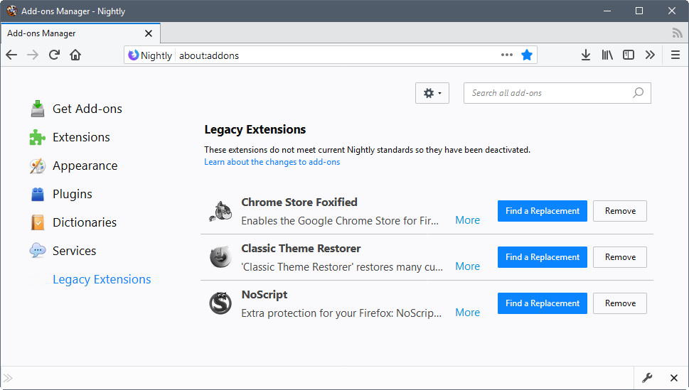 How to enable legacy extensions in Firefox 57 - Browser engine