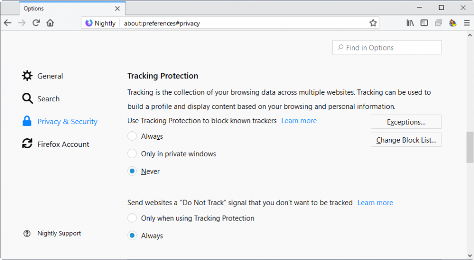 tracking-protection