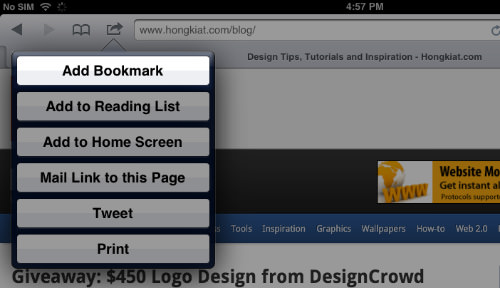 Firebug Bookmark iPad