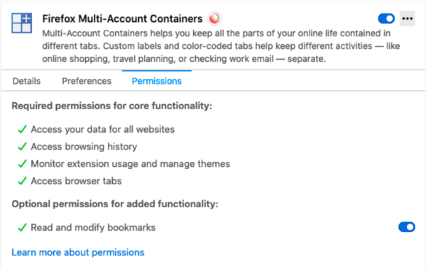 Optional permissions in about:addons