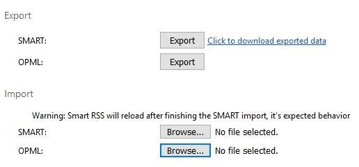 Smart RSS Reader import OPML