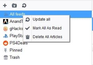 Smart RSS Reader manage all feeds