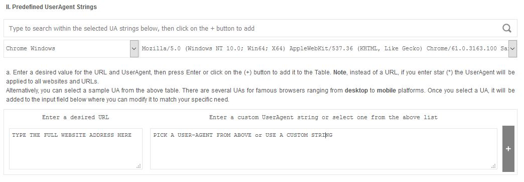 custom user agent string - section ii how to use