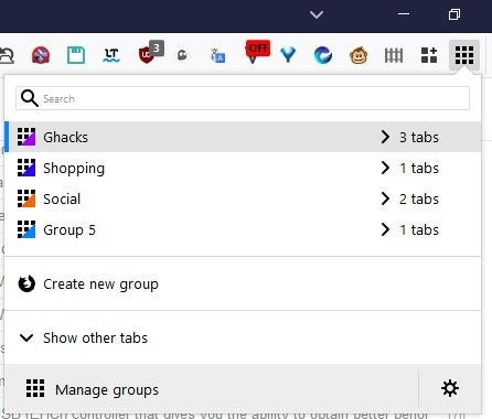 simple tab groups toolbar menu