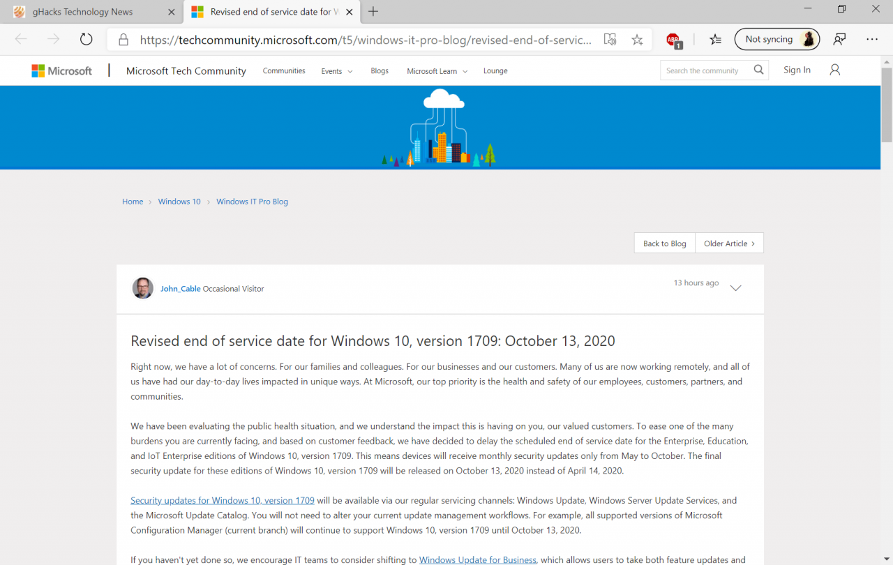 windows-10-version 1709 support extended